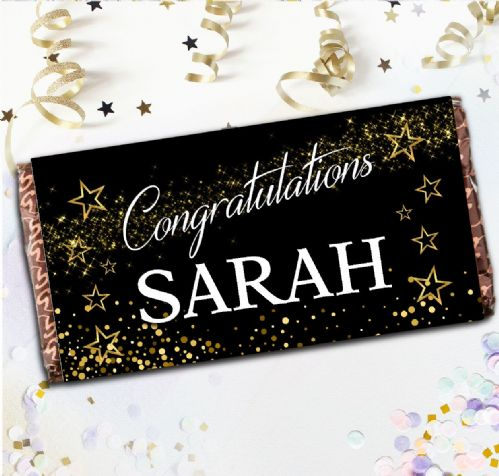 Personalised Congratulations Milk Chocolate Bar -  Gift N127 Star Sparkle